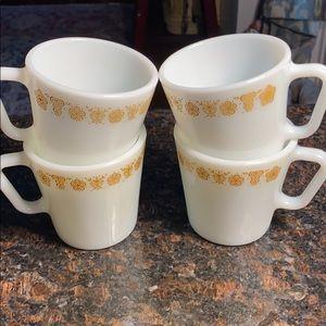 4 Pyrex Golden Butterfly  10 oz. Mugs